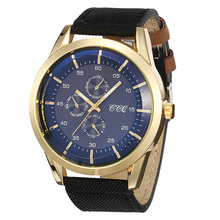 Hot Men Business Personality Big Case 3 Small Circle Leather Strap Steel Gold Dial Watches Fashion Gift For Boyfriend (WJ-4275)(China (Mainland))