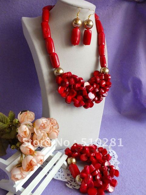 GU-9978225////Handmake new design red wedding coral jewelry set
