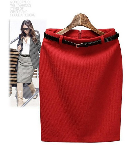 Free Shipping Winter Autumn Fashion Vintage Women's Medium-long High Waist Skirt Lady  Women Pencil Skirt with Belt,S-XXXL,RD367