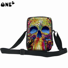 ONE2 design colorful skeleton pattern most durable single shoulder messenger nylon bag for childrens