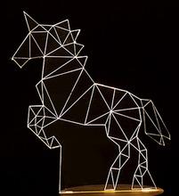 1 шт L2218 Единорог Лампы 3D СВЕТОДИОДНЫЕ Творческие Подарки Спальня Исследование Атмосфера Night Light Для Детей Рождественский Подарок