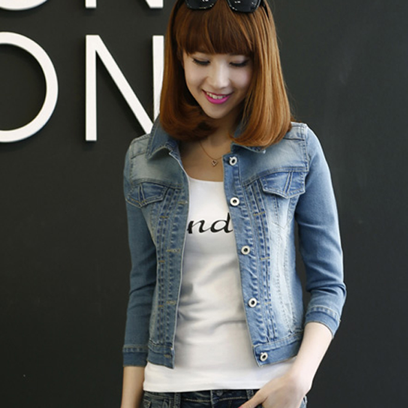 SALUTTO 2016 New Fasion Denim Jacket Women Short Section Classical Ladies Casaco Spring Jaqueta Feminina Manche Longue(China (Mainland))