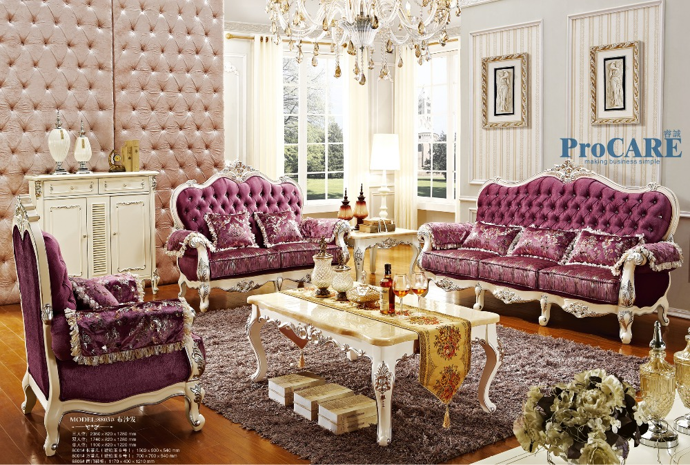 buy luxury italian oak solid wood purple fabric sectional sofas set living room. Black Bedroom Furniture Sets. Home Design Ideas