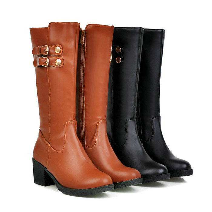 Black Brown Chunky Heel Shoes Woman 2015 Round toe Buckle Platform Women Knee High Boots Autumn Winter - ShenZhen LULU's Electronic Store store