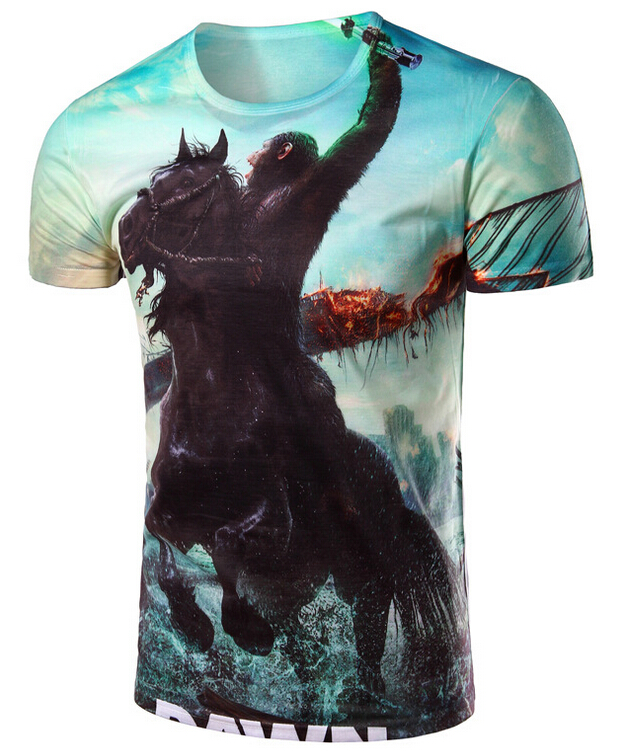 2016 new Korean men's diamond 3D rise of digital printing fashion personality cultivation tee M code to XXL code free shipping(China (Mainland))