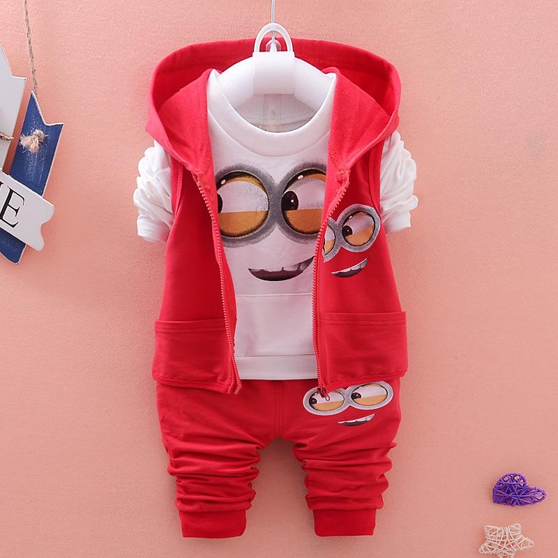 Autumn Baby Girls Boys Minion Suits Infant/Newborn Clothes Sets Kids 3 Pcs Sets Children Suits от Aliexpress INT