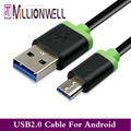 Millionwell High Speed Black and White 3M Micro USB Cables Mobile Phone 2 0 480Mbps USB