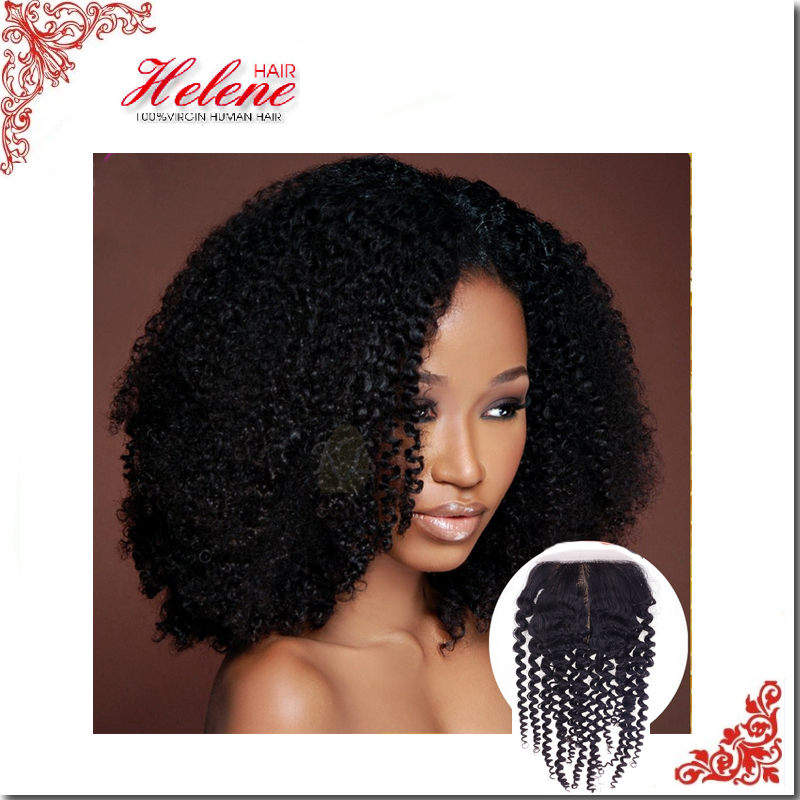 Free Shipping New Virgin Hair Silk Base Closure Indian Human Hair Kinky Curly best Classic/Pop Free Middle Three Part Closure<br><br>Aliexpress