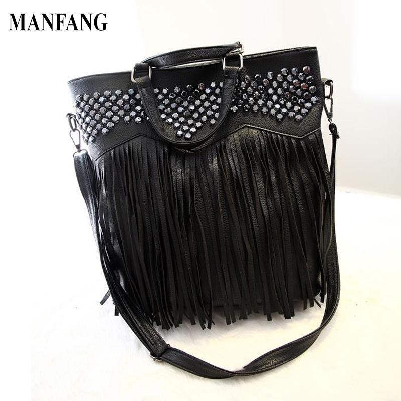 Black Color Women Tassel Handbag Fashion Rivet Women Shoulder Bag Big Capacity Leather Hand Bag Women Bag<br><br>Aliexpress