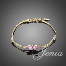 Jenia 18K Real Gold Plated Stellux Austrian Crystal Butterfly and Flower Charm Bracelet XH067(China (Mainland))