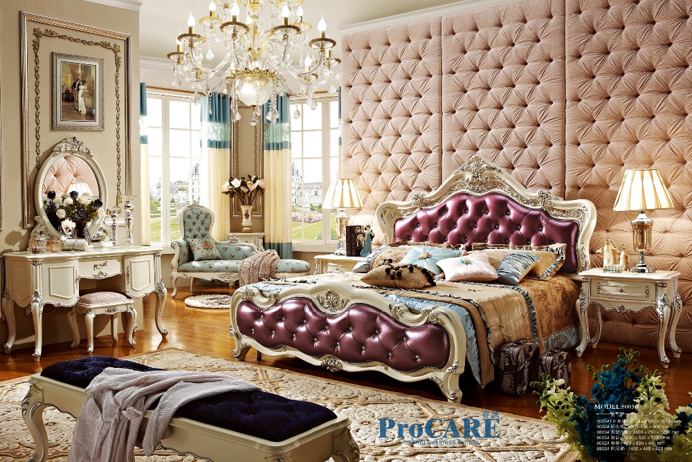Luxury european style solid wood carving bedroom furniture - Real wood bedroom furniture sets ...