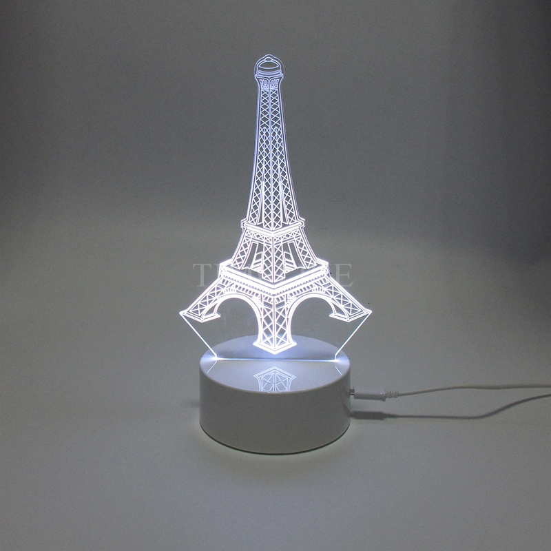 Eiffel Tower 3D Acrylic Laser Light Lamp Plastic Base USB Led Table Night Lights Magical Decoration(China (Mainland))