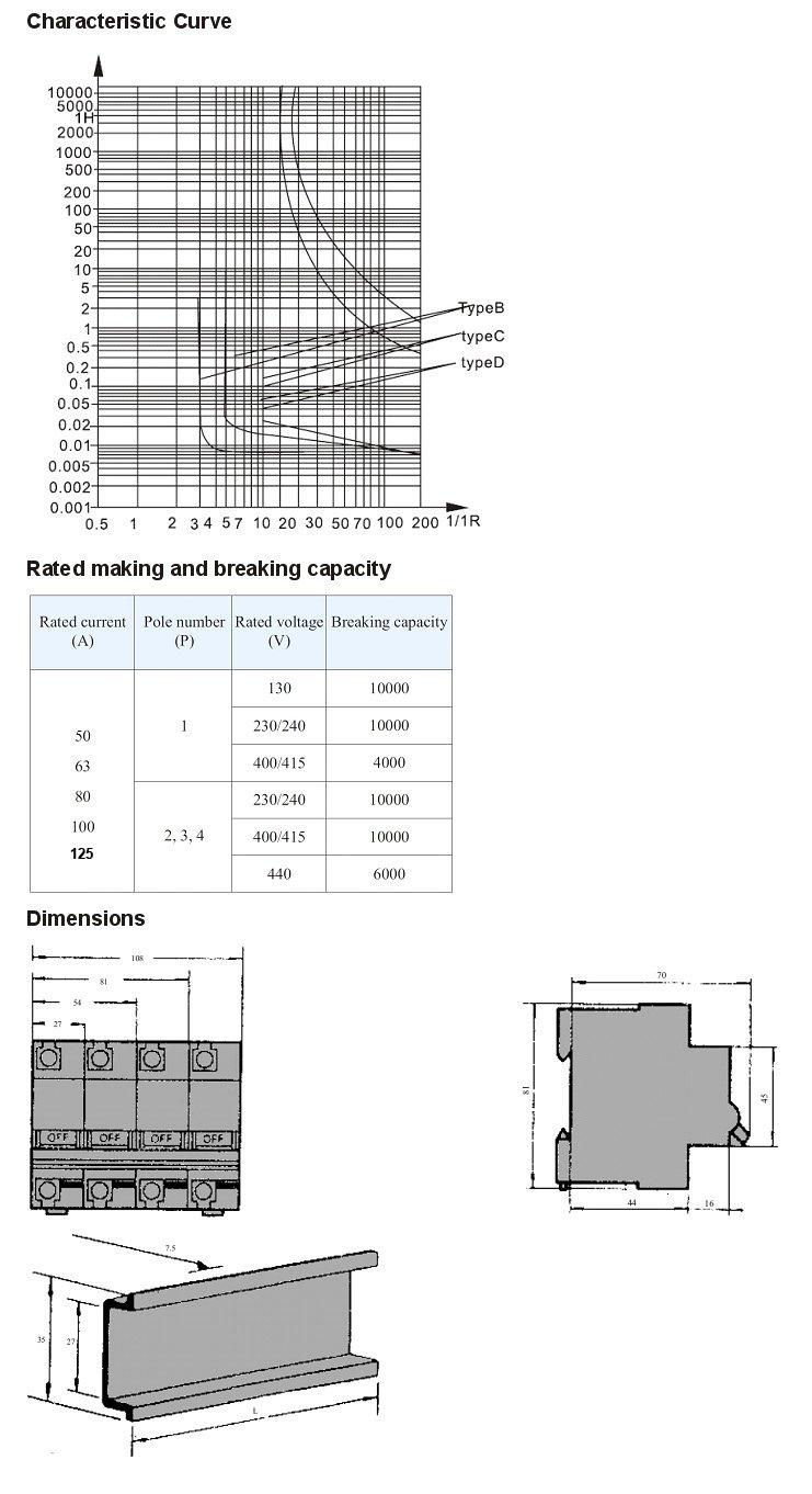 4p 100a 240v  415v 50hz  60hz circuit breaker mcb