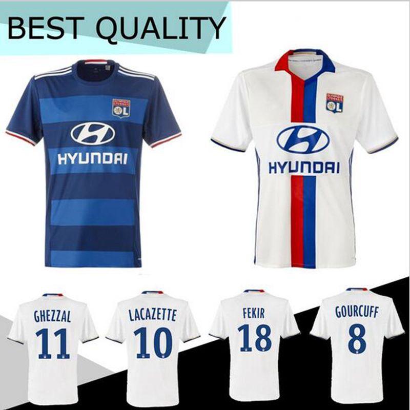 2016 Maillot de Foot Olympique Lyonnais Lacazette Valbuena Maillot 2017 Lyon Soccer Jerseys Gonalons Fekir Lyon football Shirt(China (Mainland))
