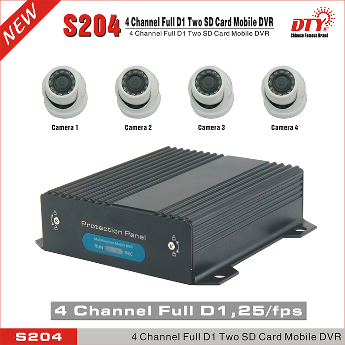 DTY S204-4GW 4 Channel H.264 live view SD Car Vehicle Mobile DVR 4CH Audio Record GPS/4G optional(China (Mainland))