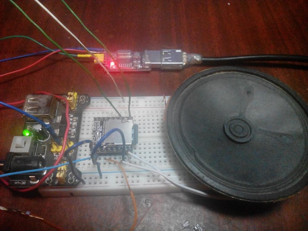 Отлично работает, очень громкий. Пока не разобрался, как управлять по UART с компьютера. Светодиод светится только во время воспроизведения, что поначалу сбило с толку - думал, что нерабочий модуль попался.