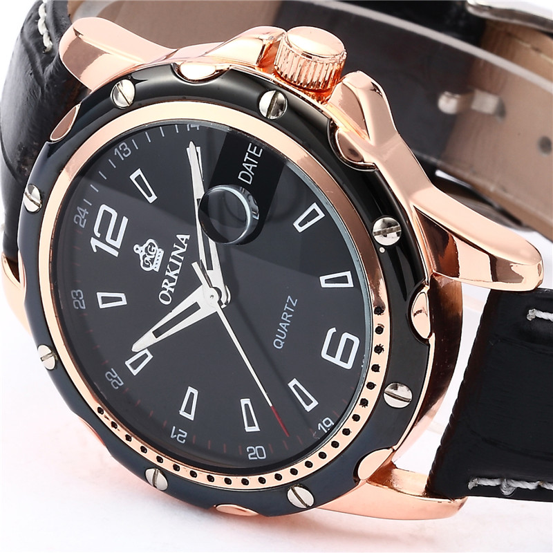 ORKINA Japan Miyota Movement Reloj Hombre Watch Men Rose Gold Steel Case Relogio Masculino Leather Strap Watch(China (Mainland))