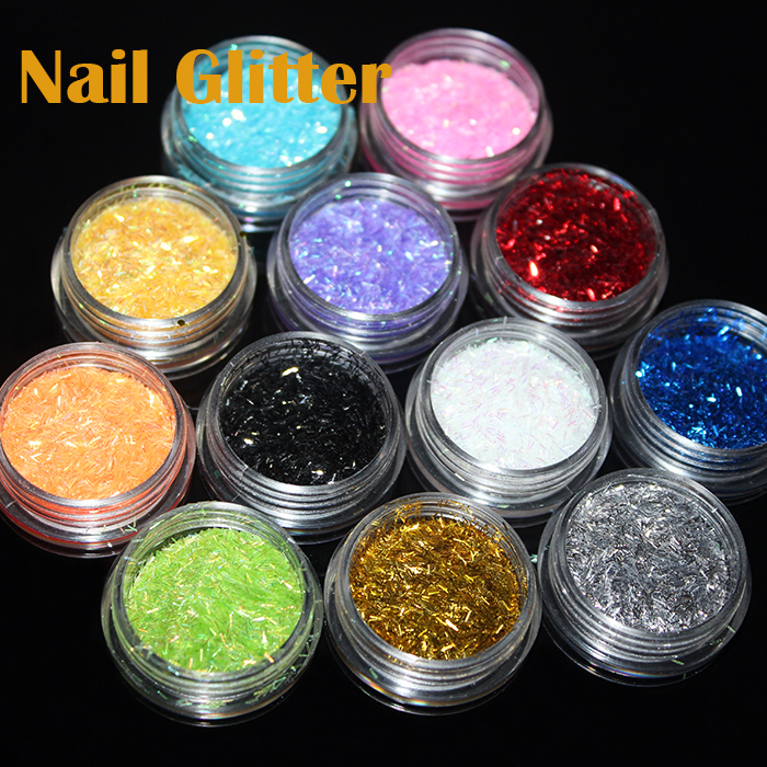 12 Pots/pack Different Color Glitter Nail Art Powder Dust Decoration Colored Acrylic Nail Powder With Box(China (Mainland))