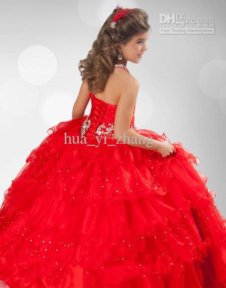 Red Bridesmaid Dresses For Little Girls Red Multilevel Little Girl
