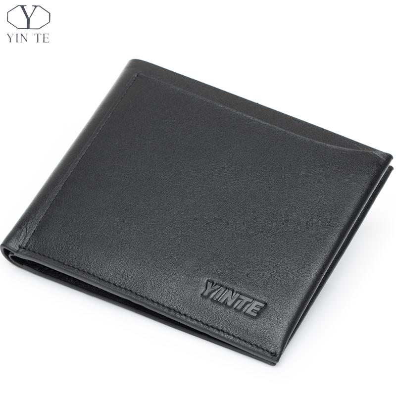 YINTE Men Genuine Leather Wallet Business Casual Credit Card ID Holder Famous Luxury Black Soft wallet Free Shipping <br><br>Aliexpress