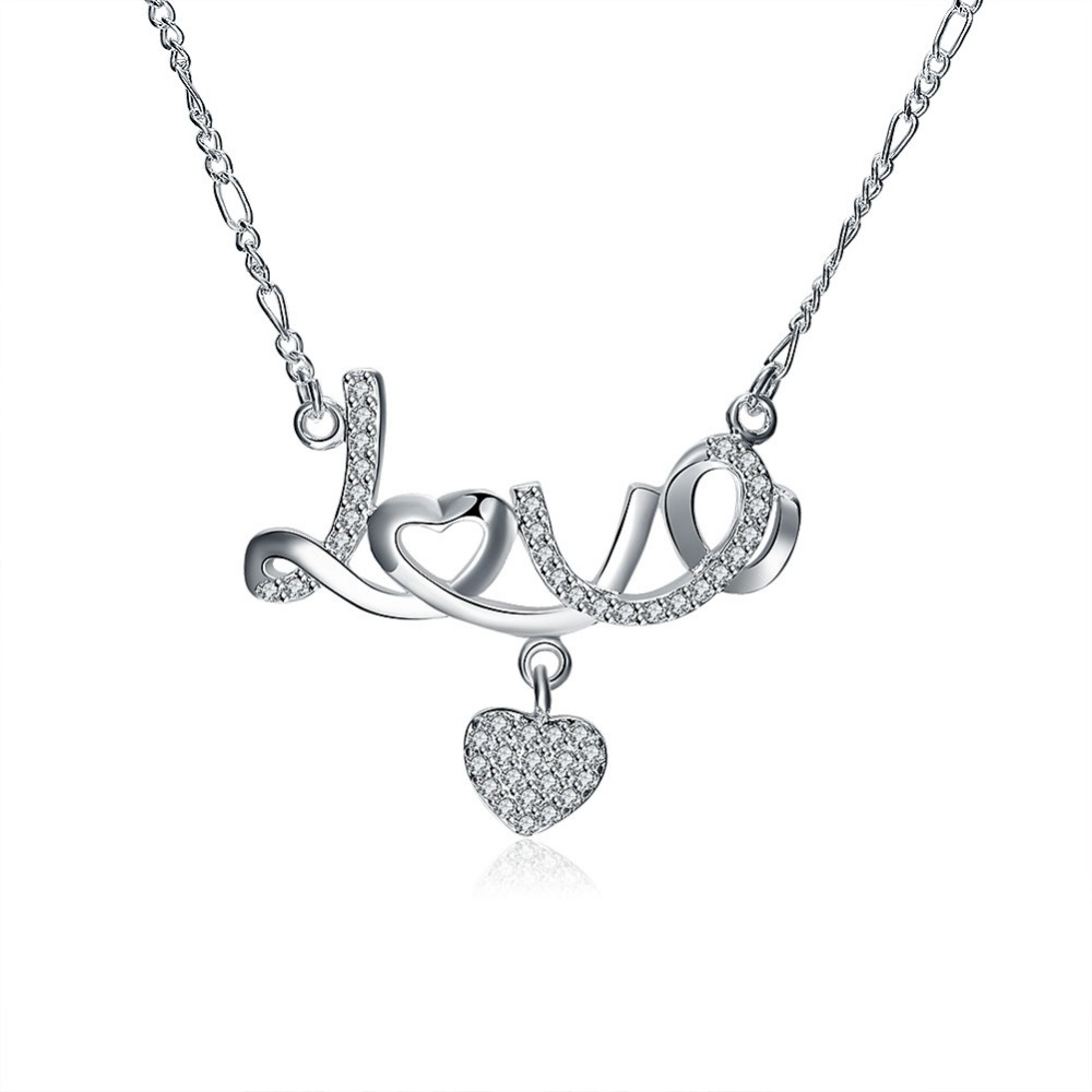 delicate love trendy celebrity best gifts silver plated necklace 2016 high quality hot selling factory direct sales wholesale(China (Mainland))