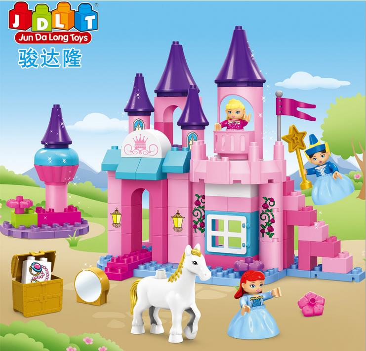 Huateng New Girls Pink Dream Series Princess Castle 95Pcs Large Building Block Set Construction Brick Toys Educational Block<br><br>Aliexpress