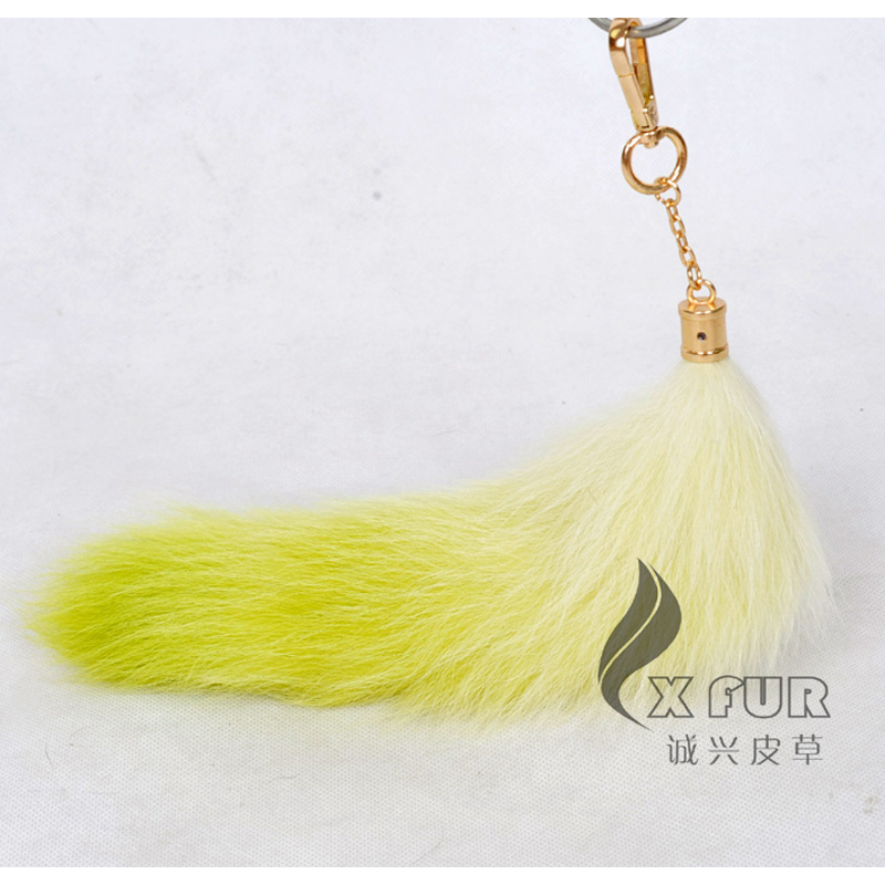 Free Shipping CX-R-34B Cheap Promotion Product Fox Fur Tail Keychain(China (Mainland))