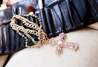 Min.order is $10 Free shipping 2013 Gothic Jewelry For Women  Rhinestone Metal Cross Long Chain Necklace