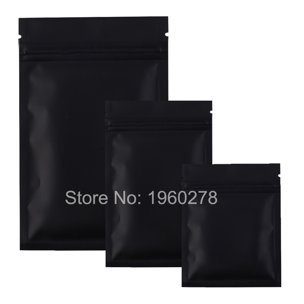 High quality 12 X 18CM,100 X Metallic Mylar ziplock bags flat bottom Black Aluminum foil small zip lock plastic bags(China (Mainland))