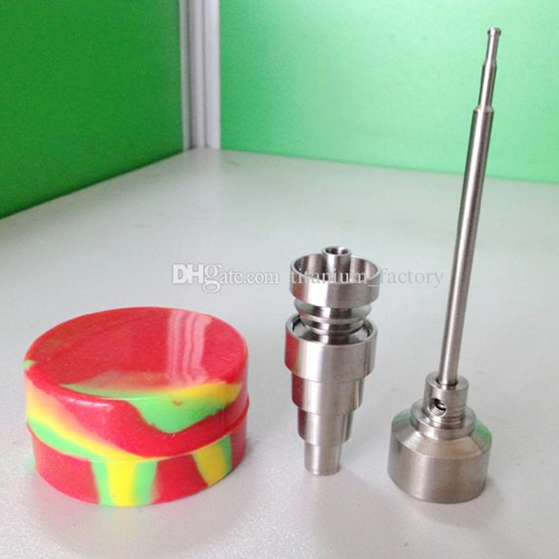 Titanium nail with Titanium carb cap with side hole with 1 random Silicone Jar for Wax Bho Oil Vaporizer Dab Wax Container(China (Mainland))