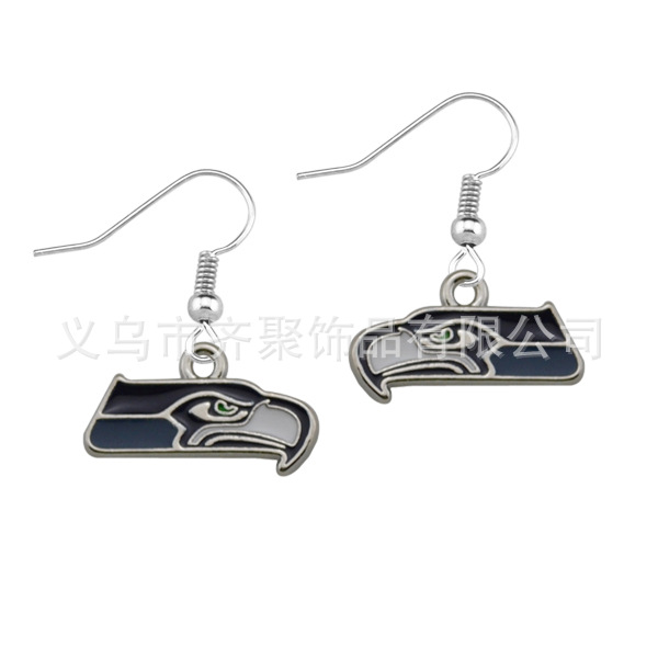 Wholesale 10pcs/lot 2015 New Arrival Hot Selling Seattle Seahawks Drop Drip Earrings Sports Women's JewelryEar Accessories