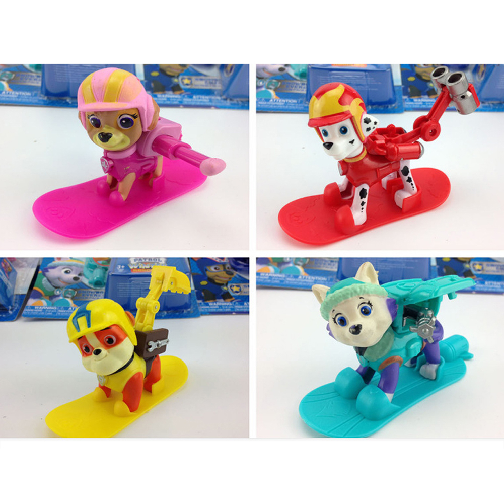 8pcs/set Snowboard Version Dog Patrol Pup Team Toy Model Set Dalmatian Bulldog Cockapoo Mini Cute Dogs Figure Children Awed Toy(China (Mainland))