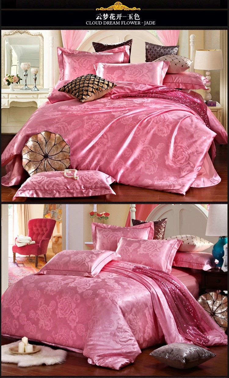 bedding set cotton jacquard luxury stain bed set bed cover