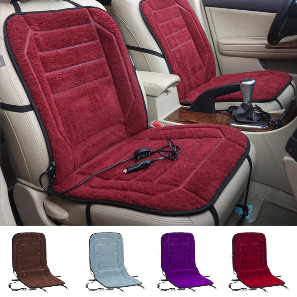 Winter 12V Car Covers Pad Car Seat Cushion Electric Wramer Cushion Car Plush Heater Pad Heating Covers 4 Colors(China (Mainland))