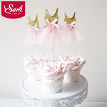 8pcs/lot CK184 Lovely Bling Princess Skirt Insert Card with Plastic Stick Cake Decoration for Wedding Birthday Party Gift
