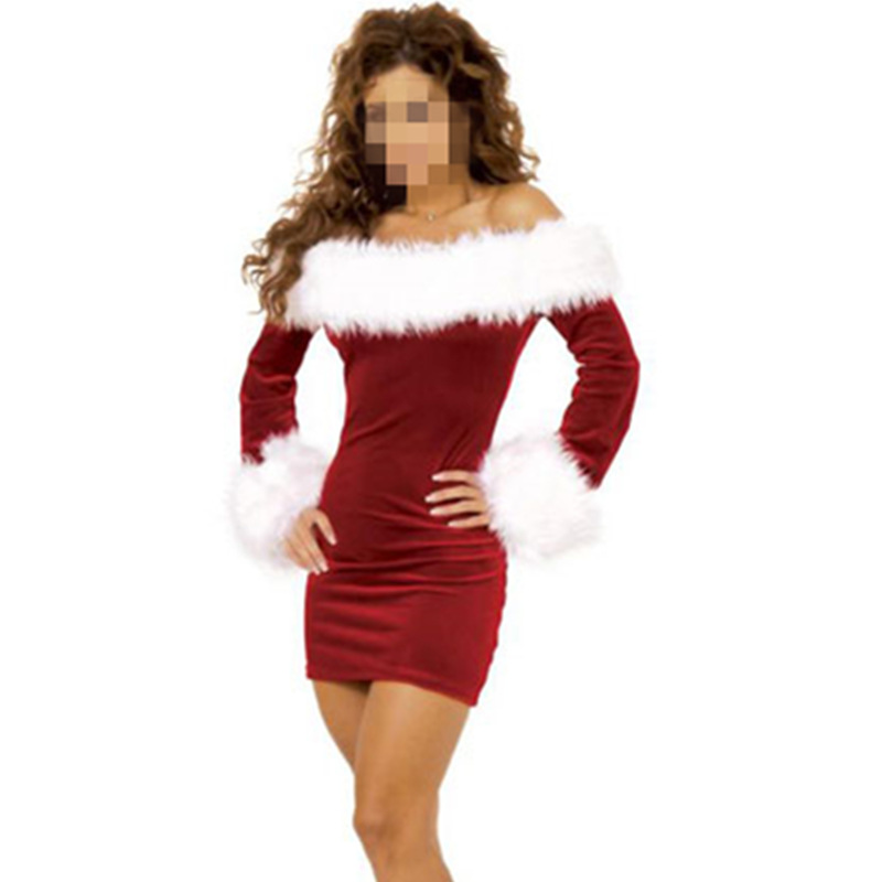 New Year New Arrival Sexy Christmas Costumes For Women Red Long sleeve Strapless Dress Christmas Plus Size(China (Mainland))