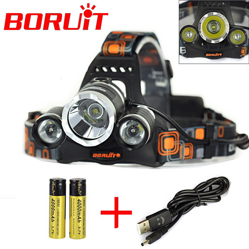 5000 Lumens 3x CREE XM-L T6 LED 4 Modes Rechargeable Headlamp 18650 Headlight USB Head Torch+2x 18650 Battery+USB Charger<br><br>Aliexpress