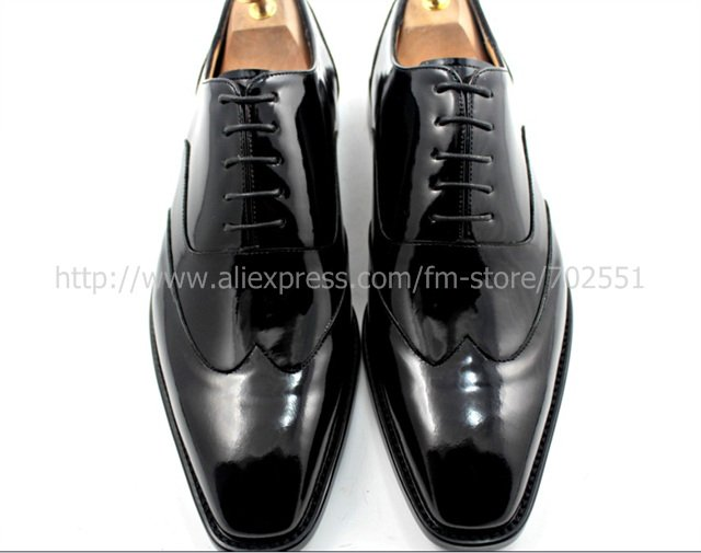 adhesive craft custom handmade genuine calf leather men's oxford shoe color black patent leather No.OX184
