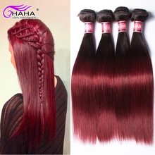 7A Ombre Virgin BrazilianHair Straight Weave 4 Bundles 1B#99j Two 2 tone 8-30inch royal virgin HumanHair Products