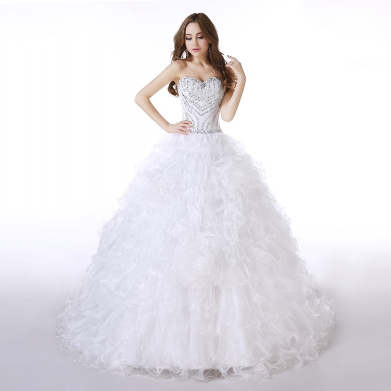Real photos ball gown simple beaded puffy wedding dresses for Real simple wedding dresses