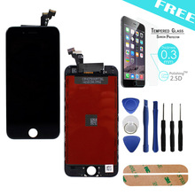 Original 100% black Replacement LCD 4.7inch Display Touch Digitizer Screen Assembly For Iphone 6 tools+Adhesive+tempered glass