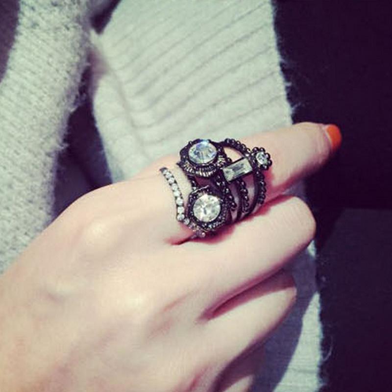5Pcs/Set Fashion Jewelry Punk Style Alloy Hexagon Rings Set with Rhinestone for Women(China (Mainland))