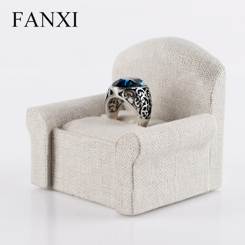 FANXI Free Shipping 6PCS/LOT Custom White Linen Finger Ring Display Stand MDF SOFA Jewelry Showcase Gift Display Exhibitor(China (Mainland))