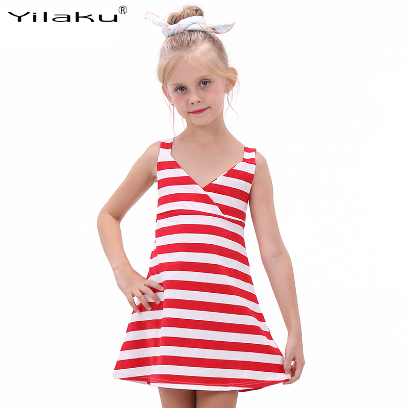 2016 Girl Striped Summer Dress Fashion Little Girl Backless Dresses Girls Sleeveless Beach Dress Kids Vest Sundress CA342(China (Mainland))