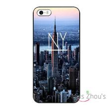 For iphone 4/4s 5/5s 5c SE 6/6s plus ipod touch 4/5/6 back skins mobile cellphone cases cover New York City Travel Black