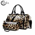 Leopard Grain Composite Women Handbag W405 Patent Leather Lady Shoulder Bag Crossbody Bag Leopard Grain Composite