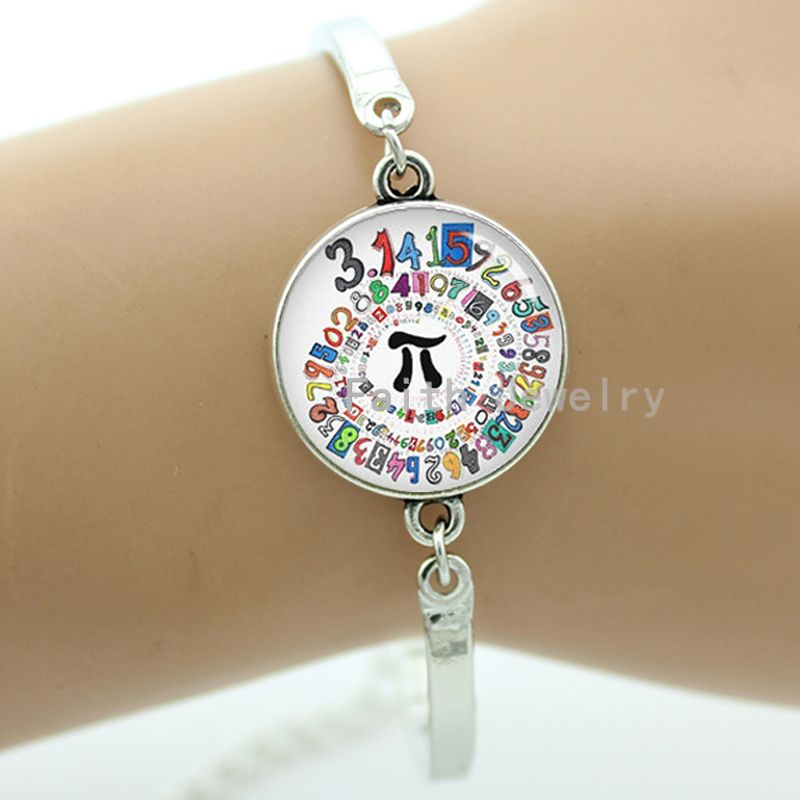 Pion spiral round bracelet mathematical pi symbol and charming colorful number spiral round mathematician jewelry gift -1269(China (Mainland))