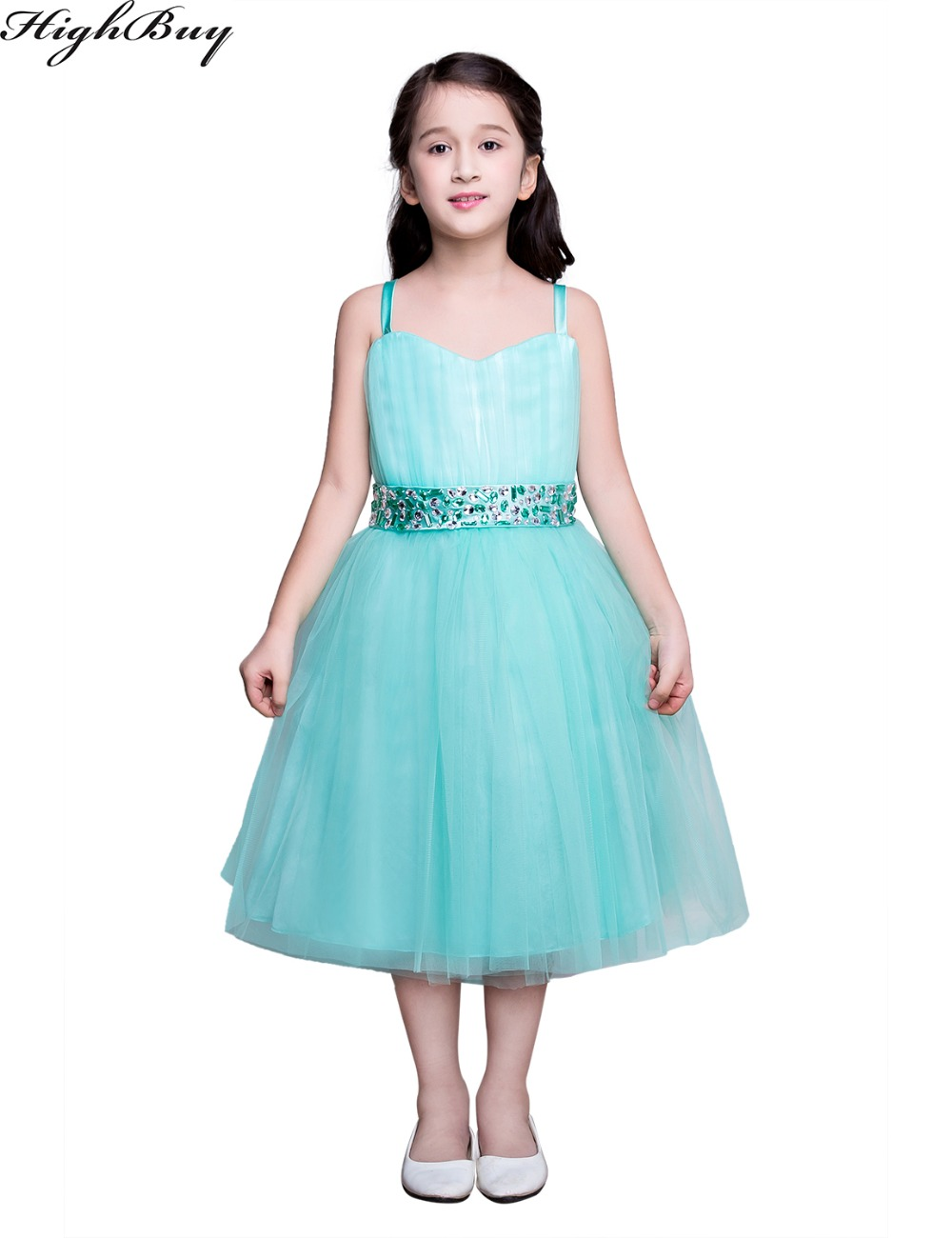 Highbuy real flower girl dresses turquoise party communion for Girls dresses for a wedding