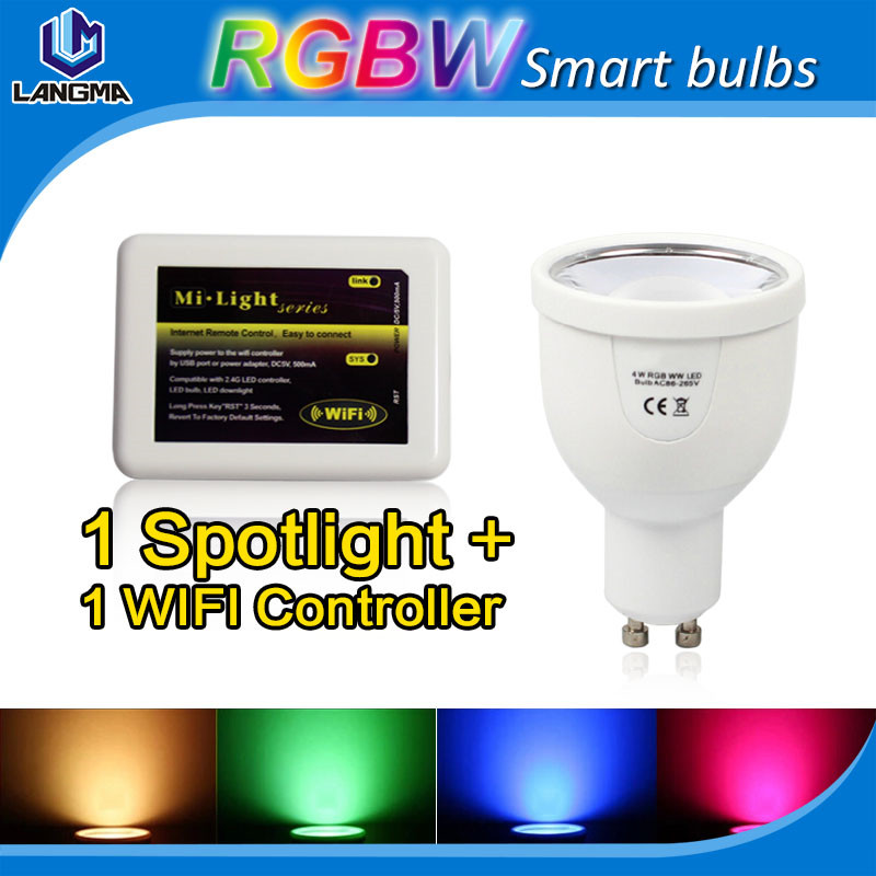 AC 110v android and ios smartphone app controlled rgb wifi gu10 led smart light bulb spotlight color changing<br><br>Aliexpress