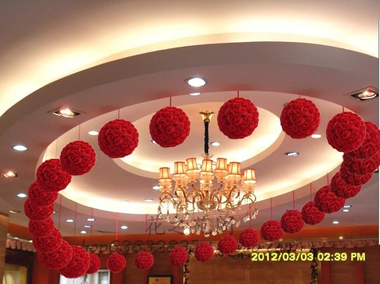 2014%20Free%20shipping%2020cm_10pcs%20Rose%20kissing%20ball%20artificial%20silk%20flower%20wedding%20party%20red%20color%20weddng
